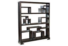 "Molly 65"" Wide Bookcase, Ebony"