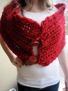 Crimson Red Peruvian Wool Cowldesign by behin by designbybehin, $130.00