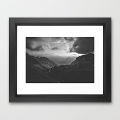 Valley black and white landscape photography Framed Art Print ($35) ❤ liked on Polyvore featuring home, home decor and wall art
