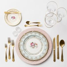 Lace Chargers in Blush + The Botanicals Vintage China + Chateau Flatware + Gold Rimmed Stemware + Antique Crystal Salt Cellars | Casa de Perrin Design Presentation