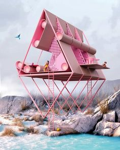 Collection of conceptual architecture   Antireality   Archinect Conceptual Architecture, Futuristic Architecture, Interior Architecture, Seaside Cafe, Cafe House, Teen Room Decor, Pink Houses, Urban Planning, Grafik Design