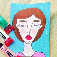 Original illustration of a portrait of Evi - with botanical pattern in blues and pink door XantheCS op Etsy