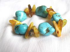 Natural Amber Turquoise Bracelet by DreamsFactory on Etsy, $35.00