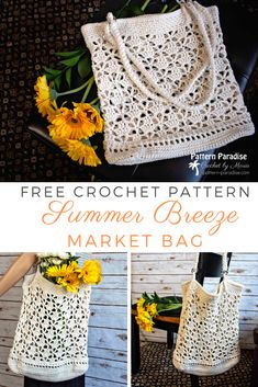 The Fancy Market Bag Free Crochet Pattern has a pretty lace design flanked by a sturdy base and top border. It's perfect as a market bag, beach bag etc. Crochet Handbags, Crochet Purses, Crochet Bags, Free Crochet Bag, Crochet Baskets, Crochet Crafts, Crochet Projects, Crochet Ideas, Crochet Bag Tutorials
