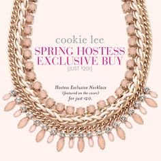 Spring's perfect go-to accessory! #cookielee #necklaces #hostess #jewelry #peach #gold