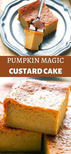 Magic Cake Recipes, Dessert Recipes, Yummy Recipes, Pumpkin Spice Cake, Pumpkin Dessert, Yummy Snacks, Delicious Desserts, Magic Custard Cake, Desert Recipes