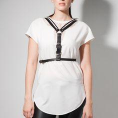 BELLADONNA black leather harness. Shop online at http://boa.storenvy.com