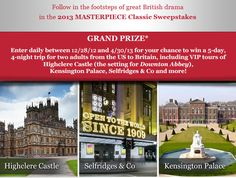 Downton Abbey Addicts: Downton Abbey Fans: Enter the 2013 MASTERPIECE Classic Sweepstakes :: Ends 4/30/2013