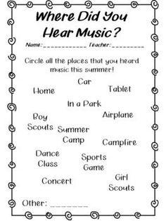 My Musical Summer van Rocky Mountain Music Preschool Music, Music Activities, Movement Activities, Classroom Activities, Classroom Ideas, Music Education, Music Teachers, Physical Education, Health Education
