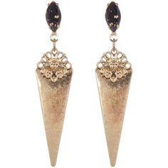 Free Press Post Stone Drop Earrings (€8,50) ❤ liked on Polyvore featuring jewelry, earrings, triangle drop earrings, stone earrings, triangle jewelry, post drop earrings and gold tone earrings