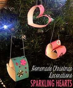 Homemade Christmas Decorations: Sparkling Hearts. Simple kid-made decoration
