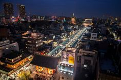 The heart of Asakusa from above: Kaminarimon gate, Nakamise Dori/Street and Sensoji temple as seen from the top floor of the Asakusa Culture and Tourism Center (http://www.pinterest.com/pin/196047390003087031/). Taken on January 25, 2014. © Grigoris A. Miliaresis