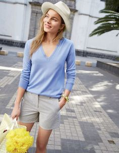 J.Crew women's Collection featherweight cashmere classic V-neck sweater, Bermuda short in skinny stripe, panama hat and neon-and-crystal cuff bracelet.
