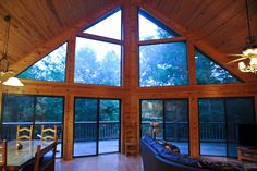 Glass front prowel of glass wall looking out to tranquil setting, hot tub, outdoor fireplace, wi fi, pool table, nice decor & more near Blue Ridge GA @ www.mtngetawaycabins.com