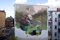 Polish graffiti artists Sainer and Bezt, also known as Etam Cru, paint huge street art murals on tall buildings, brightening the dull city walls. 3d Street Art, Murals Street Art, Street Art Berlin, Best Street Art, Amazing Street Art, Art Mural, Street Art Graffiti, Street Artists, Wall Murals