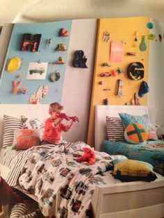 Those peg boards behind the bed! Love!