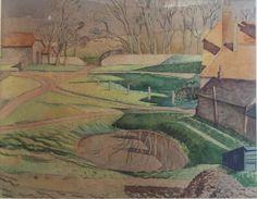 Eric Ravilious. 1927. Pond at East Dean Farm.