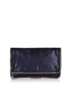 Falabella ink blue textured faux leather fold-over clutch bag with gunmetal-tone curb chain hardware, H19 x W31 x D1cm | Stella McCartney