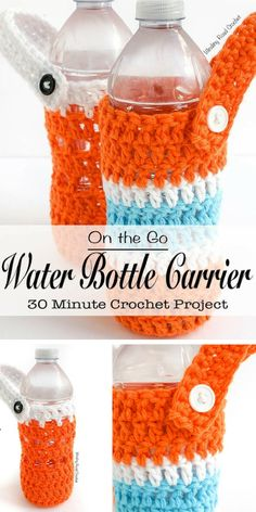 Cool Crocheted On-the-Go Water Bottle Carrier Free Pattern to never be without a. - Before After DIY Easy Crochet Projects, Crochet Crafts, Water Bottle Carrier, Crochet Poncho Patterns, Crochet Kitchen, Crochet Baby, Free Crochet, Free Pattern, Water Bottles