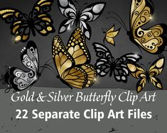 Printable/Digital Gold & Silver Butterfly Clip Art Christmas Labels, Christmas Tag, Dog Clip Art, Butterfly Clip Art, Art File, Dog Tags, Printable, Digital, Unique Jewelry