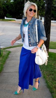 Create That Outfit: Maxi Skirt, Jean jacket, Heels
