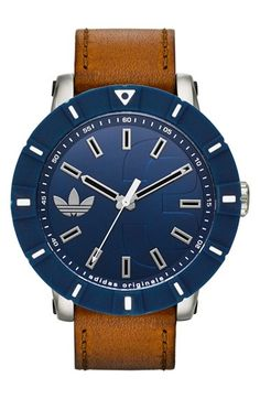 adidas+Originals+'Amsterdam'+Silicone+Bezel+Leather+Strap+Watch,+54mm+available+at+#Nordstrom