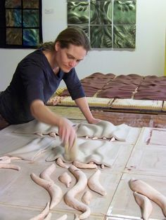 making tiles at Natalie Blake Studios
