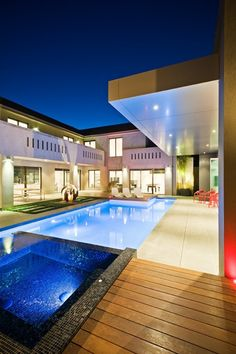 cool house a pool and a hot tub