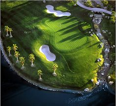 A view from above the 18th green at Rhodes Ranch Golf Club in Las Vegas, NV.