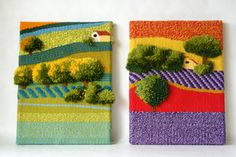 Tapices cornelia shep Weaving Projects, Weaving Art, Tapestry Weaving, Loom Weaving, Yarn Crafts, Diy And Crafts, Cricket Loom, Loom Craft, Art Textile