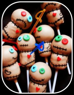 Voodoo Doll cake pops for Halloween. They come with their own swords for you to use as you wish!