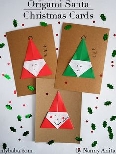 For this years cards we have been making origami Santa Christmas cards. The design is simple so kids could make them without too much help from adults. Christmas Origami, Christmas Cards To Make, Santa Christmas, Christmas Movies, Simple Christmas, Christmas Crafts, Kids Origami, Origami Folding, Origami Easy