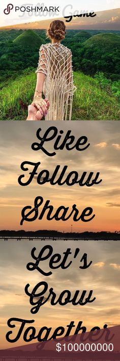 🍀My first follow game🍀 1. Like the post. 2. Follow me. 3. Share the post. 4. Don't forget to follow everyone who likes this post. This will help us grow. Happy Poshing! Wishing everyone many sales! Other