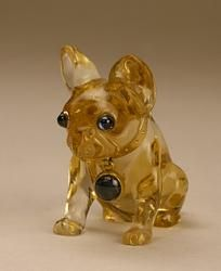 French bulldog figurine, Russia, St. Petersburg, late XIX - early XX century.    Faberge Firm. Gold, sapphires, citrine. Sanding, carving