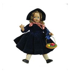 Madame Alexander Tiny Betty Composition Doll of the Month Vintage Jointed Hip Shoulder  Vintage November Birthday Doll Blue Velvet