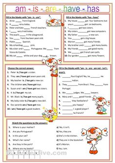 Am, is, are, has, have worksheet - Free ESL printable worksheets made by teachers good for quick daily grammar checks English Grammar Worksheets, English Verbs, English Fun, English Vocabulary, Learn English, Phonetics English, English Beginner, English For Beginners, Esl Lessons