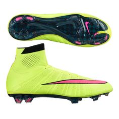 The hottest soccer boots on the planet, the Nike Mercurial SuperFly IV FG Soccer Cleats (Volt/Black/Hyper Pink) deliver the speed you need. Get your pair of Nike Mercurial Superfly soccer boots at SoccerCorner.com
