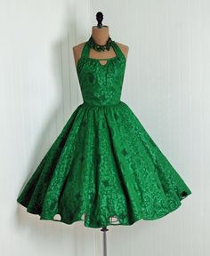 1950's Emerald-Green Dress With Neckline Cut-Out Detail and Matching Cut-Outs Around the Hem