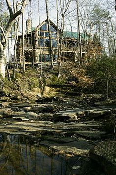 DejaVu!  Looks almost identical to our house--even with the creek below...how cool.    Looks like all one color on siding.