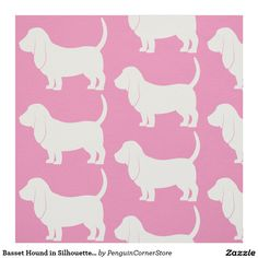 Basset Hound in Silhouette with Paw Print Fabric