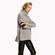 Image for Signature Stripe Cable Jumper from TommyUK Jumper, Men Sweater, Signature Style, Tommy Hilfiger, Women Wear, Turtle Neck, Clothes For Women, Clothes Hanger, Sweaters