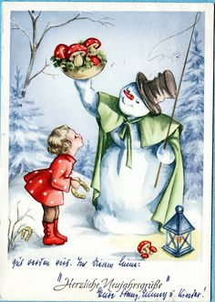 German. snowman and girl. my fav era of illustrations.