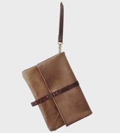 Foldover Gold Leather Clutch | This handsome foldover clutch is made with a minimum design an... | Clutches & Special Occasion Bags