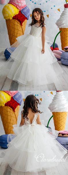 Flower Girl Dresses Boho, Tulle Flower Girl, Tulle Flowers, Wedding Dresses For Girls, Tulle Lace, Little Girl Dresses, Boho Dress, Wedding Girl, Frock Models