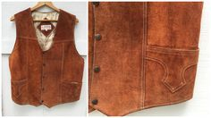 70's Rust Suede Leather Vest by Zamher by ElkHugsVintage on Etsy