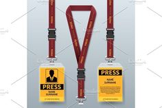 Business press pass id card lanyard badges realistic vector mock up isolated by MicroOne on @creativemarket