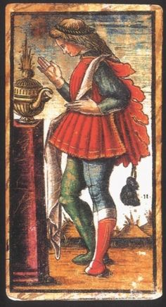"""Sola Busca Tarot -  Page of Cups  ( is tending either a fire or """"blooming plants"""" coming out of his suit - symbol, while carrying a purse )"""