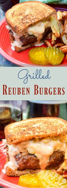Grilled Reuben Burgers are smothered in sauerkraut, Havarti cheese, and Thousand Island dressing. Pairs wonderfully with CK Mondavi and Family Merlot! #SummerBurgers #CKMondaviandFamily #CKSummerWines