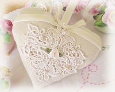 HEART SACHET - Ecru/Ivory tone-on-tone woven damask fabric, 2 venise lace appliques, 7 pearl beads, ribbon roses, ivory velvet ribbon bow and