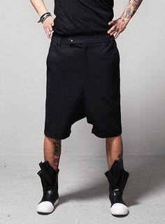 Drkncns GEO Paneled Banding Dress Shorts $48.60 #men #fashion #style #street #shorts #banded #dress #black